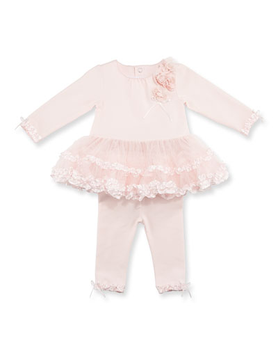 Long-Sleeve Ruffle Tutu Top w/ Leggings, Pink, Size 3-12 Months