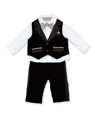 Satin-Trim Vest & Pants w/ Long-Sleeve Shirt, Black, Size 6-24 Months