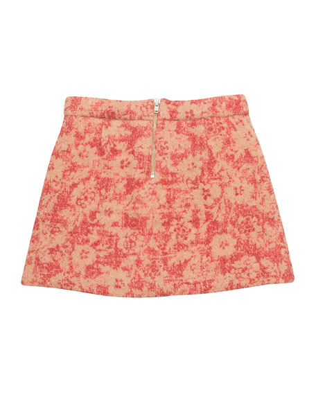 Abstract Floral Tweed Skirt, Pink, Size 4-8