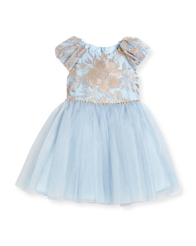 Cap-Sleeve Embroidered Tulle Dress, Blue, Size 3-6