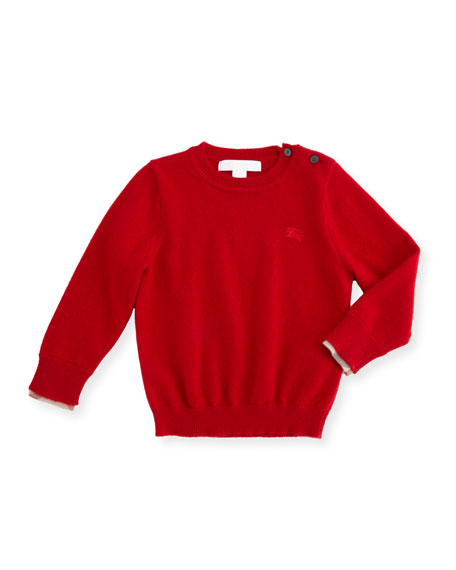 Burberry Gethin Cashmere Pullover Sweater, Military Red, Size