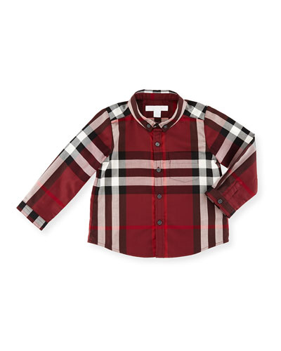 Fred Mini Long-Sleeve Check Shirt, Claret, Size 6M-3Y