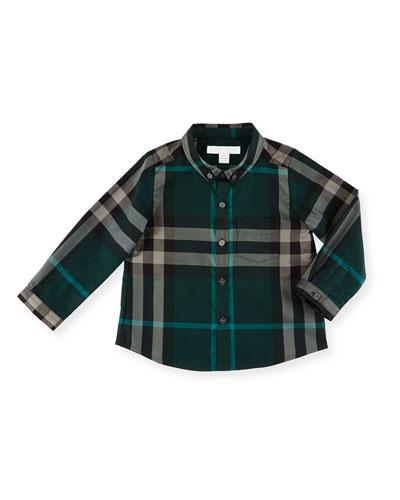 Fred Mini Long-Sleeve Check Shirt, Racing Green, Size 6M-3Y