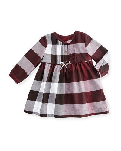 Emalie Long-Sleeve Pintucked Check Dress, Beetroot, Size 6M-3Y
