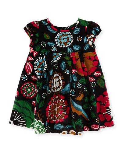 Wendi Floral Pleated Dress, Sage Green, Size 6M-3Y