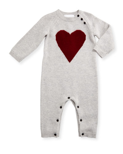 Missy Cashmere Heart Coverall, Light Gray Melange, Size 3-18 Months