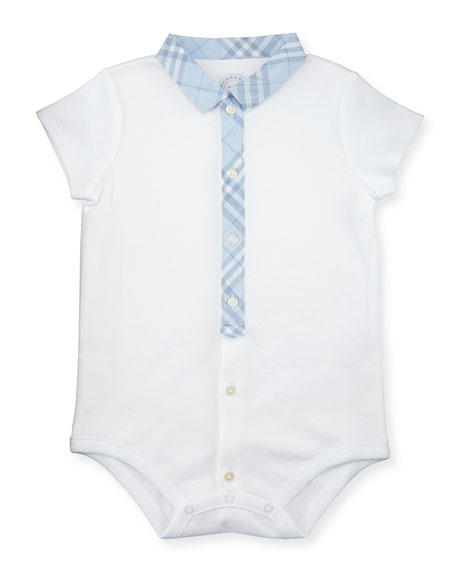 Tannar Check-Placket Jersey Playsuit, Ice Blue/White, Size 3-24 Months