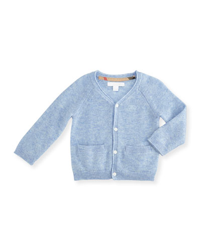 Ellon Button-Front Cashmere Cardigan, Ice Blue, Size 3-24 Months