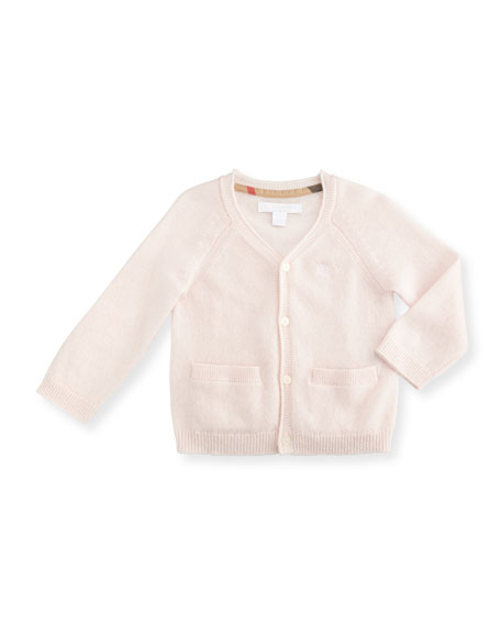 Burberry Ellon Button-Front Cashmere Cardigan, Powder Pink, Size