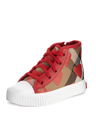 Warslow Heart-Print Check High-Top Sneaker, Infant