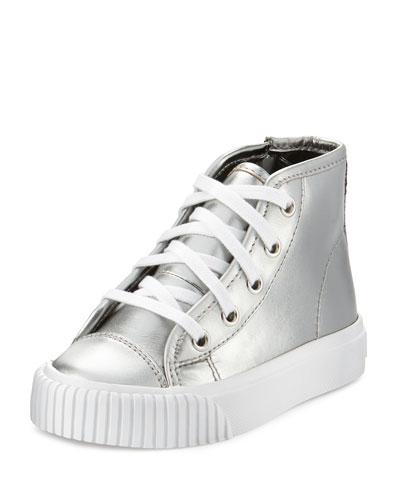 Warslow Metallic Leather High-Top Sneaker, Silver, Toddler
