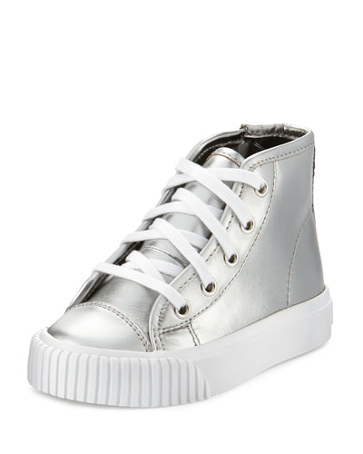Warslow Metallic Leather High-Top Sneaker, Silver, Youth