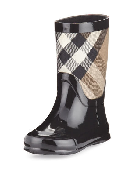 Burberry Rainmoor Check Rubber Rainboot, Black, Toddler