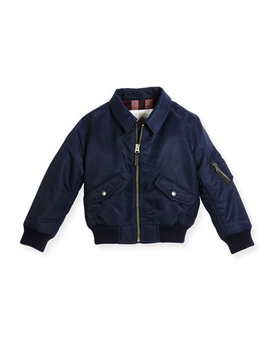 Pipley Collared Bomber Jacket, Navy, Size 4-14