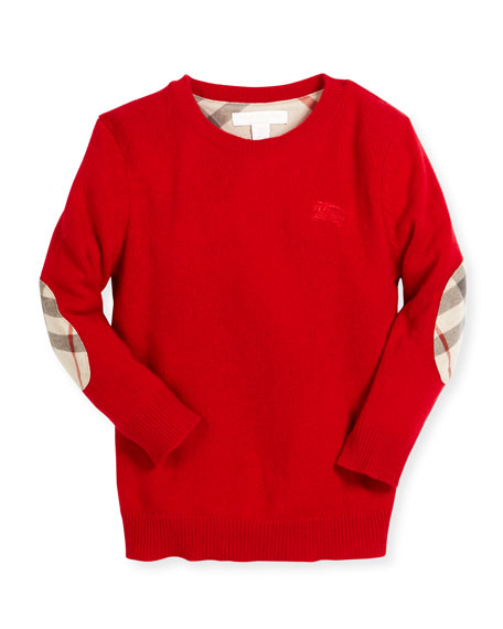 Burberry Mini Durham Cashmere Pullover Sweater, Parade Red,