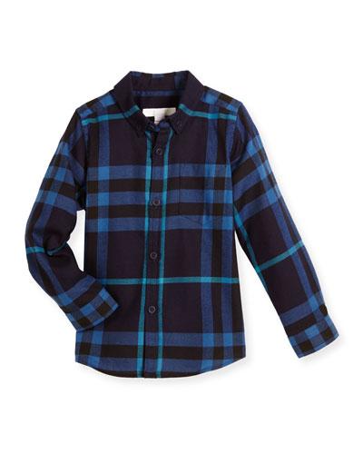 Fred Mini Long-Sleeve Check Shirt, Bright Navy, Size 4-14