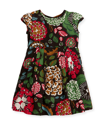 Wendi Floral Pleated Dress, Sage Green, Size 4-14