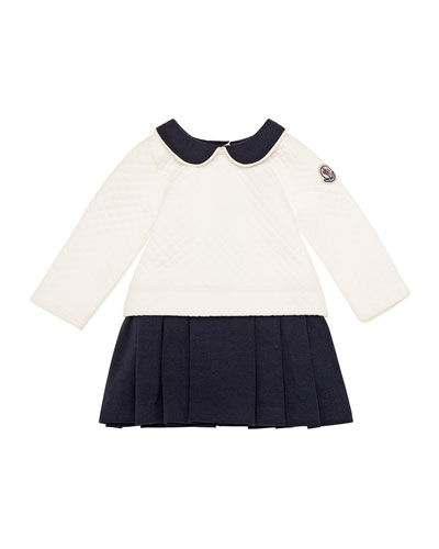 Long-Sleeve Quilted Shift Dress, White, Size 6M-3