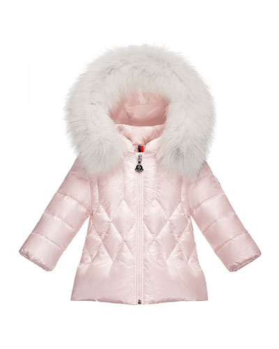 Splendeur Hooded Diamond-Quilted Puffer Coat, Light Pink, Size 12M-3