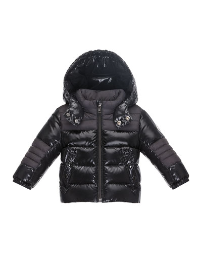 Thibert Hooded Two-Tone Puffer Jacket, Black, Size 12M-3