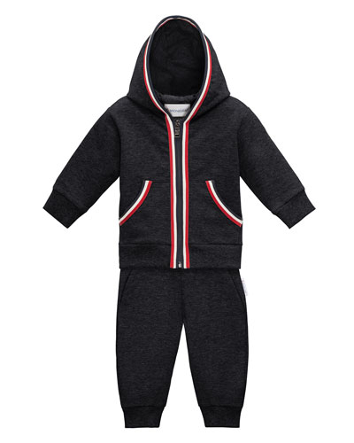 Hooded Melange Two-Piece Track Suit, Navy, Size 12M-3