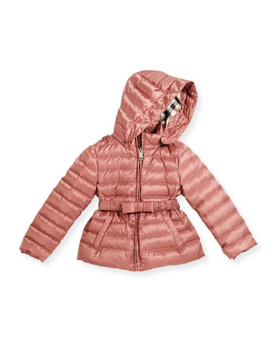Janie Hooded Puffer Jacket, Antique Rose, Size 4-14