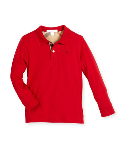 Long-Sleeve Mini PPM Jersey Polo Shirt, Military Red, Size 4-14