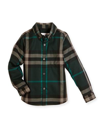 Fred Mini Long-Sleeve Check Shirt, Racing Green, Size 4-14