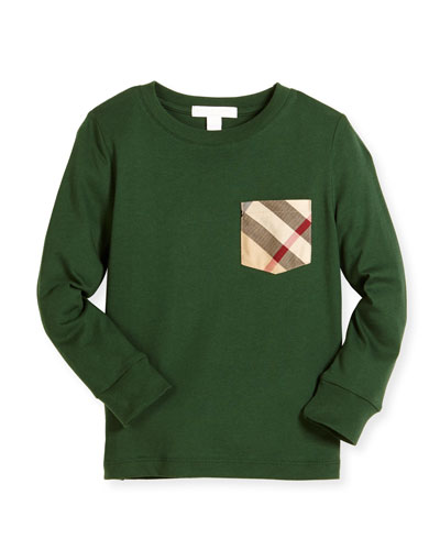 YNG Check-Pocket Jersey Tee, Forest Green, Size 4-14