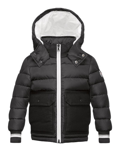 Rabelais Hooded Wool-Trim Puffer Coat, Gray, Size 8-14