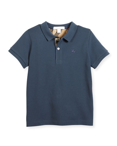 Long-Sleeve Mini PPM Jersey Polo Shirt, Stone Blue, Size 4-14