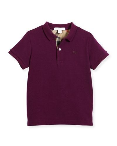 Long-Sleeve Mini PPM Jersey Polo Shirt, Dark Purple, Size 4-14