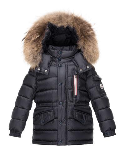 Boys' Lilian Hooded Puffer Coat, Navy, Size 8-14