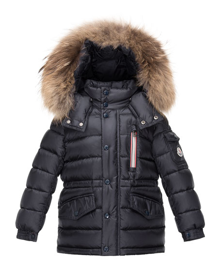 Moncler Boys' Lilian Hooded Puffer Coat, Navy, Size