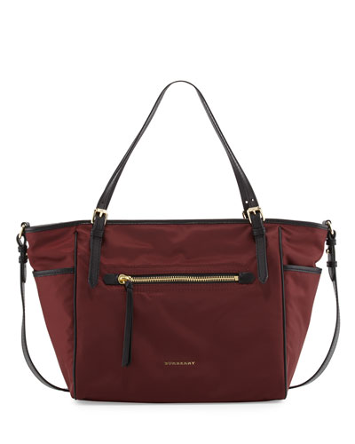 Two-Tone Canvas Diaper Bag, Burgundy