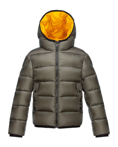 Serge Hooded Puffer Coat, Olive, Size 4-6