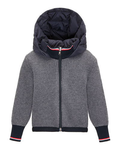 Ribbed Cardigan w/ Down Hood, Navy/Gray, Size 4-6