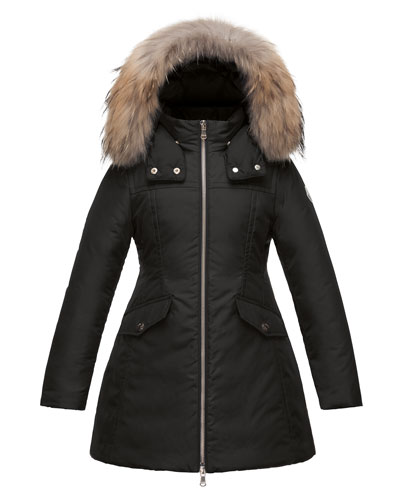 Obax Hooded Down Coat, Black, Size 8-14