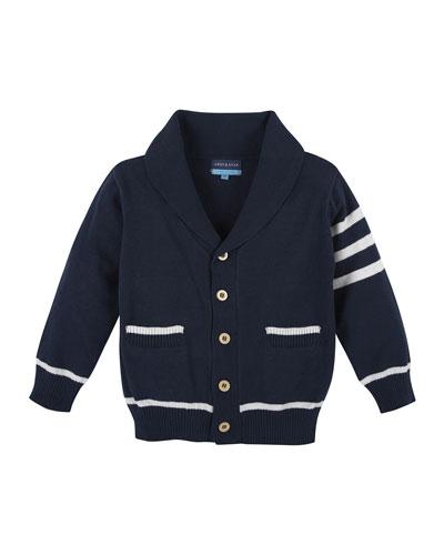 Cotton Varsity Sweater, Navy/White, Size 2T-7Y