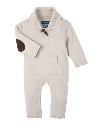 Shawl-Collar Toggle Coverall, Oatmeal, Size 3-24 Months