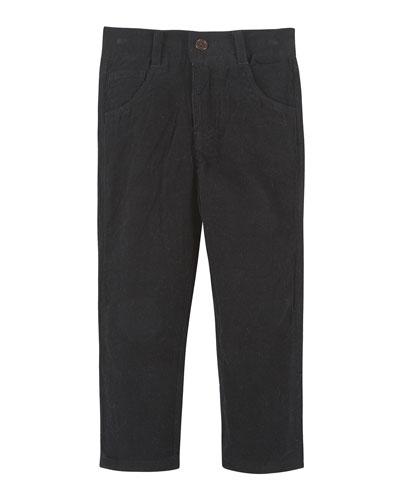 Straight-Leg Cotton Corduroy Pants, Black, Size 2-7