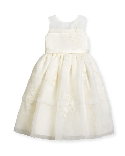 Sleeveless Satin & Tiered Organza Special Occasion Dress, Ivory, Size 4-14