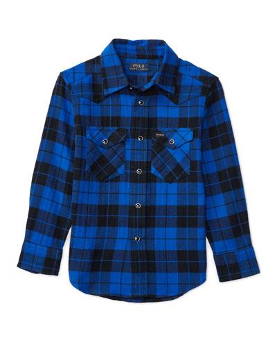 Cotton Plaid Western Shirt, Black, Size 2-7