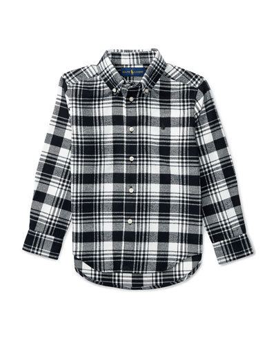 Long-Sleeve Plaid Cotton Shirt, White/Black, Size 2-7