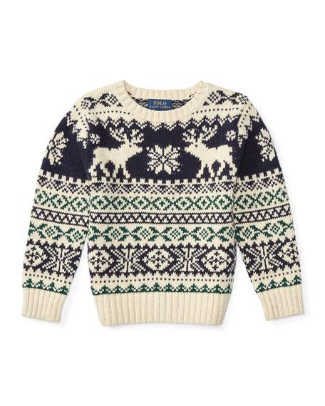ralph lauren fair isle reindeer pullover sweater cream multicolor size 2 7 neiman marcus. Black Bedroom Furniture Sets. Home Design Ideas