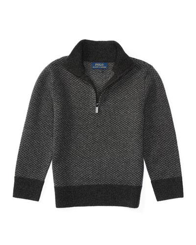 Herringbone Wool Half-Zip Sweater, Charcoal, Size 2-7