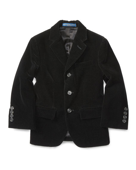 Ralph Lauren Velvet Polo Jacket, Black, Size 2-7