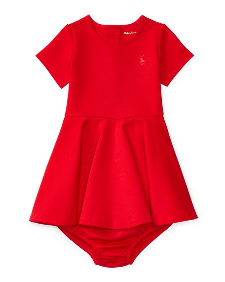 Ralph Lauren Short-Sleeve Fit-and-Flare Ponte Dress w/ Bloomers, Red, Size 9-24 Months