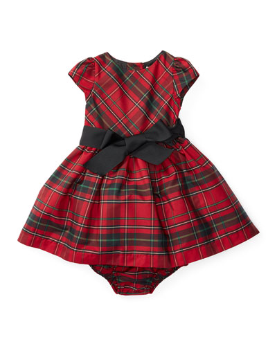 Tartan Plaid Taffeta Dress, Red/Black, Size 9-24 Months