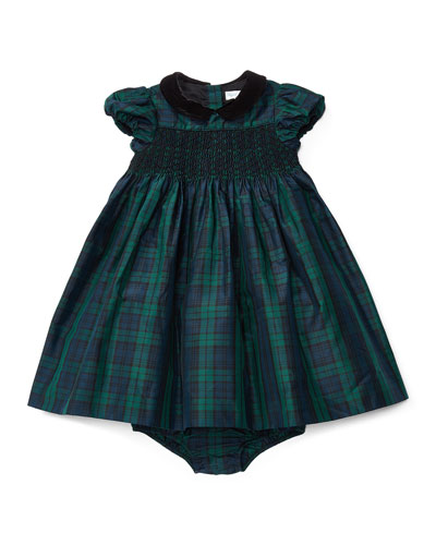 Cap-Sleeve Plaid Silk Taffeta Dress w/ Bloomers, Blue/Green, Size 9-24 Months
